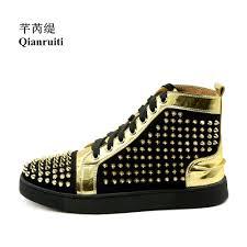 qianruiti customized men gold spike shoes rivet sneaker lace up