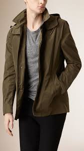 burberry showerproof hooded coat with removable warmer in natural