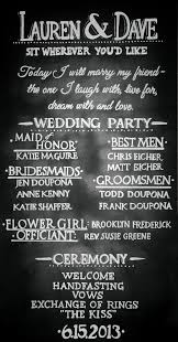 wedding program chalkboard pin of the week chalkboard wedding program chris laich