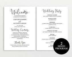 wedding program templates wedding program template rustic wedding program printable