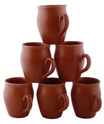 Handmade Tea Cups - bulk set of 6 ceramic cups in brown in color handmade