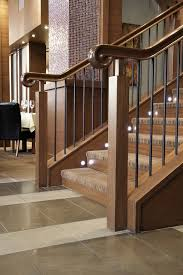 Banister Handrail Hand Crafted Custom Wood Stair Railing Enhances Upscale Restaurant
