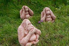 set of 3 wise monkeys speak see hear no evil cast garden