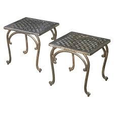 Copper Patio Table Mckinley Set Of 2 Cast Aluminum Patio End Tables Copper