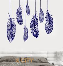 feather home decor ethnic love feather romantic bedroom wall art decal sticker