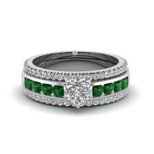 engagement jewelry sets diamond with emerald gemstone heart wedding ring set in yellow gold