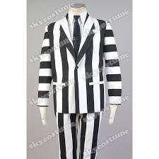 Black White Striped Halloween Costume Halloween Costume Beetlejuice Fancy Dress Striped Suit Cosplay