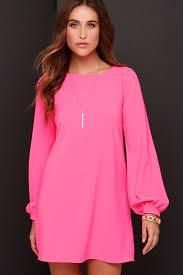 pink dress hot pink dress shift dress sleeve dress 38 00