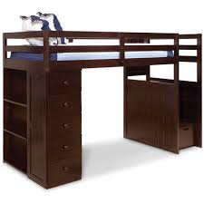canwood mountaineer twin loft bed with storage tower and built in