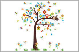 Monkey Nursery Wall Decals Colorful Floral Tree With Sweet Baby Monkey Nursery Wall Decals