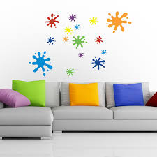 multicoloured splat wall sticker set colourful wall stickers