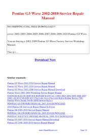 pontiac g3 wave 2002 2010 service repair manual pdf by david zhang