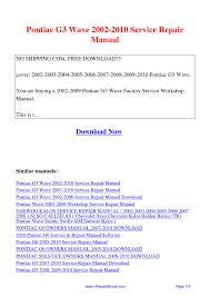pontiac g3 wave 2002 2010 service repair manual pdf by david zhang
