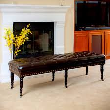 Long Ottoman Furniture Long Leather Tufted Bench Ottoman With Wheels In Front
