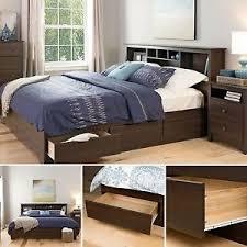 bed frame king size platform brown wooden bedroom furniture 6