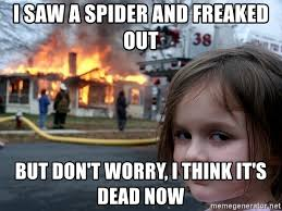 I Saw A Spider Meme - i saw a spider and freaked out but don t worry i think it s dead