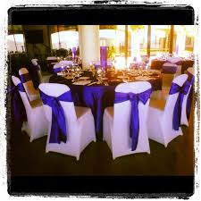 Purple Chair Covers White Spandex Chair Covers With Royal Purple Crinkled Taffeta