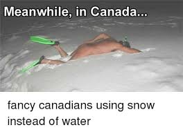 Canada Snow Meme - meanwhile in canada fancy canadians using snow instead of water