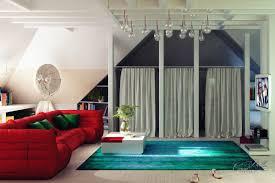 bold color lounge scheme screened storage interior design ideas