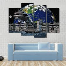earth and moon view futuristic space station 4 piece canvas art