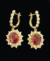 diamond dangle earrings 14kt gold ruby and diamond dangle earrings goldsmith