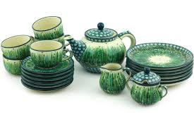 Coffee Set pottery 40 oz tea or coffee set for six boleslawiec