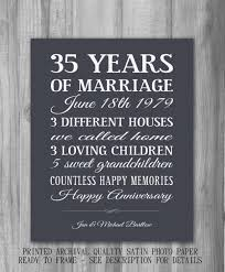 35th wedding anniversary gift personalized anniversary gift important dates unique custom