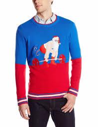 men red color block sweater weightlifting santa claus pattern