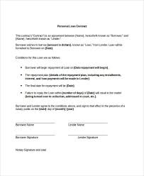 9 loan contract templates free sample example format download