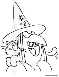 cackling witch printable halloween kids coloring