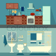 home interior vector vector flat illustration for rooms of apartment house home