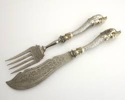 kitchen forks and knives antique fish serving knife u0026 fork 800 silver handles in shape of