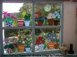 flower pots window border style 4 static window cling painted