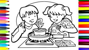 how to draw kids cooking coloring pages kids learn drawing
