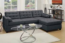 Reversible Sectional Sofa by Amazon Com Poundex Bobkona Hardin Polyfabric Left Or Right Hand