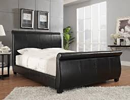 Black Leather Sleigh Bed Bed8716q Size Upholstered Sleigh Bed