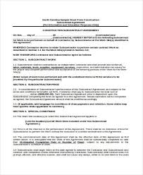 subcontractor agreement subcontractor non compete agreement