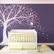 bedroom purple nursery wall decor with crib bedding for girls
