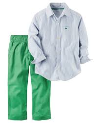 Easter Clothes For Baby Boy 2 Piece Striped Button Front U0026 Canvas Pant Set Carters Com