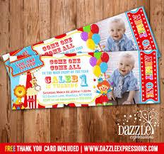 circus ticket birthday photo invitation carnival
