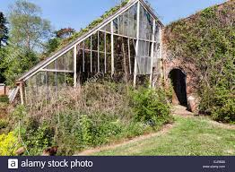 a ruined glasshouse in a huge abandoned walled kitchen garden