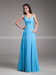floor length spaghetti straps chiffon a line prom dress