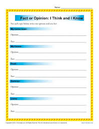i think and i know fact and opinion worksheets for 3rd and 4th grade