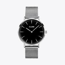 la bohème mesh watch in silver u0026 black by cluse fy