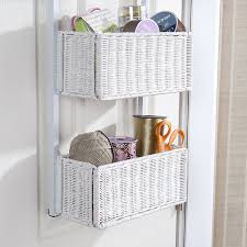 White Wicker Bathroom Storage by Amazon Com Southern Enterprises Over The Door 3 Tier Woven Basket