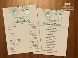 jar wedding programs jar wedding program printable wedding party names and