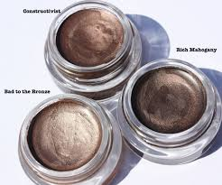 mac constructivist paint pot versus maybelline rich mahogany color