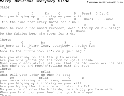 christmas carol song lyrics with chords for merry christmas