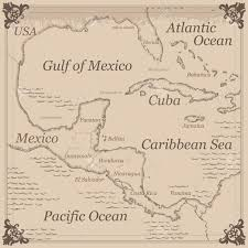 Pirates Of The Caribbean Map by Vintage Caribbean Central America Map Illustration Royalty Free