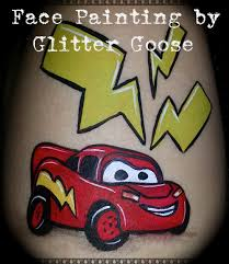 lightning mcqueen from cars face painting by glitter goose race